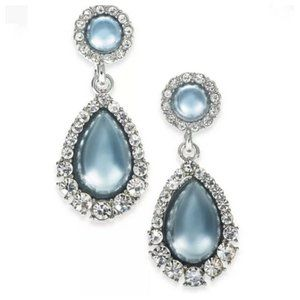 Charter Club Crystal Pearl Drop Earrings Blue NEW